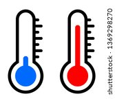 blue and red thermometer icon | Shutterstock .eps vector #1369298270