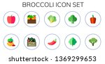 broccoli icon set. 10 flat... | Shutterstock .eps vector #1369299653