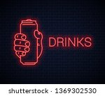 hand hold can neon sign. male... | Shutterstock .eps vector #1369302530