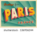 vintage touristic greeting card ... | Shutterstock .eps vector #136936244