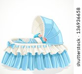 Baby In Blue Cradle Isolated O...