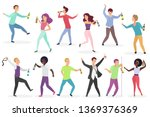 funny drunk people set. men and ... | Shutterstock .eps vector #1369376369