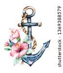 anchor  flower  marine vintage... | Shutterstock . vector #1369388579