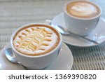 hot caramel macchiato and latte ... | Shutterstock . vector #1369390820