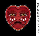 cry heart tattoo  vector eps 10 | Shutterstock .eps vector #1369392509
