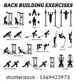 back building exercises and... | Shutterstock .eps vector #1369423973