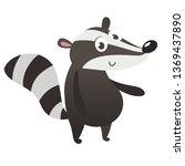 cute cartoon badger illustrated.... | Shutterstock .eps vector #1369437890