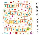funny cartoon english alphabet... | Shutterstock .eps vector #1369439723