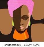 African Black Woman. Vector...