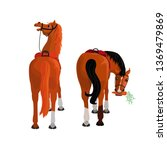 two saddled horses rear view.... | Shutterstock .eps vector #1369479869