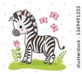 zebra standing on a flower...   Shutterstock .eps vector #1369491353