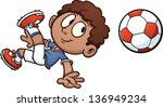 cartoon soccer kid. vector clip ... | Shutterstock .eps vector #136949234