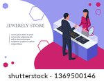 jewelry shop. man buys a... | Shutterstock .eps vector #1369500146