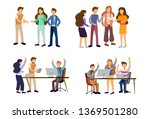 sets of scenes at office.... | Shutterstock .eps vector #1369501280