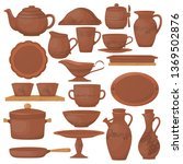 ceramic pottery. beautiful clay ... | Shutterstock .eps vector #1369502876