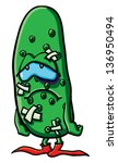 funny cartoon cucumber on the... | Shutterstock .eps vector #136950494