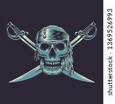 pirate skulls with 2 sword | Shutterstock .eps vector #1369526993