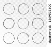 doodle sketched circles. hand... | Shutterstock .eps vector #1369538600