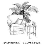 room with furniture. easy chair ... | Shutterstock .eps vector #1369565426
