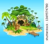 cartoon tropical island with a... | Shutterstock .eps vector #1369574780