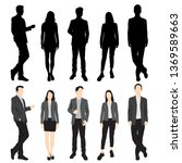 set of silhouettes of men and... | Shutterstock .eps vector #1369589663