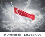 3d rendering of singapore flag... | Shutterstock . vector #1369627703