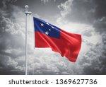 3d rendering of samoa flag is... | Shutterstock . vector #1369627736
