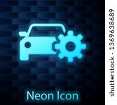 glowing neon car service icon... | Shutterstock .eps vector #1369638689