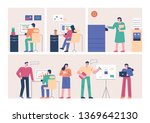 employees working in their own... | Shutterstock .eps vector #1369642130