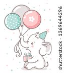 cute baby elephant sits and... | Shutterstock .eps vector #1369644296