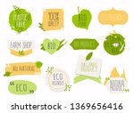 collection of green labels and... | Shutterstock .eps vector #1369656416