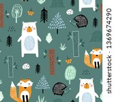 seamless childish pattern with... | Shutterstock .eps vector #1369674290