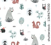 seamless childish pattern with... | Shutterstock .eps vector #1369674530