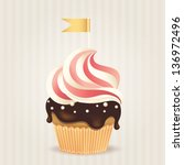 cute vector party cupcake on... | Shutterstock .eps vector #136972496