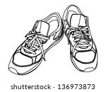 pair of tying sports shoes... | Shutterstock .eps vector #136973873