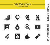 medicine icons set with blood...