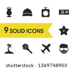 season icons set with man with...