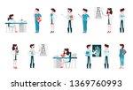 set of doctor and nurse... | Shutterstock .eps vector #1369760993