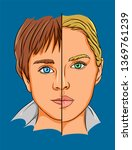 cute young boy and girl half... | Shutterstock .eps vector #1369761239
