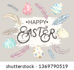 happy easter. illustration with ... | Shutterstock .eps vector #1369790519
