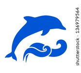 vector blue dolphin and waves... | Shutterstock .eps vector #136979564