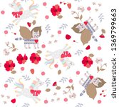 seamless pattern with funny... | Shutterstock .eps vector #1369799663