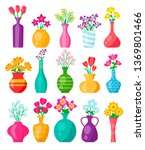 different vases with colorful...   Shutterstock .eps vector #1369801466