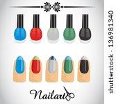vector   nail polish | Shutterstock .eps vector #136981340