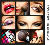 makeup collage. professional... | Shutterstock . vector #136984238