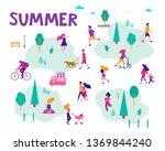 different activities of people... | Shutterstock .eps vector #1369844240