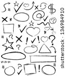 collection of scribble design... | Shutterstock .eps vector #136984910