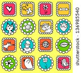 cute colorful stamps with... | Shutterstock .eps vector #136985540