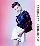 beautiful woman dressed elegant ... | Shutterstock . vector #136985993