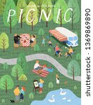 picnic. vector illustration of... | Shutterstock .eps vector #1369869890